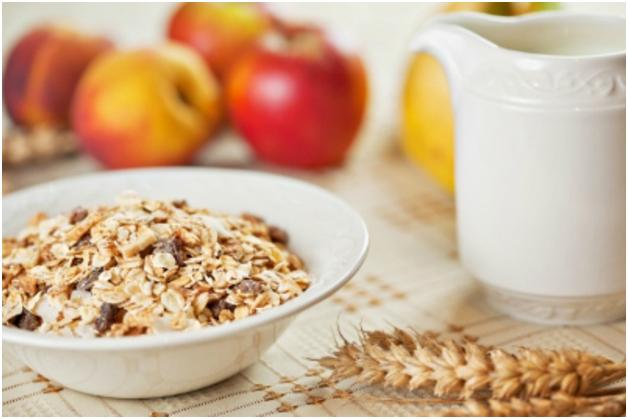 Muesli in a bowl on table