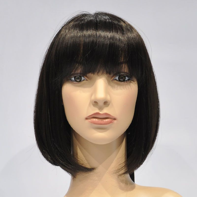 Black wig on mannequin
