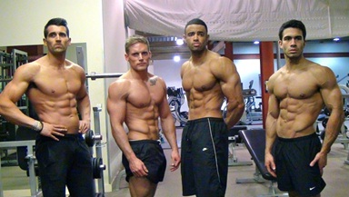 Muscular men in the gym