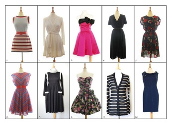 Variety of dresses on mannequins