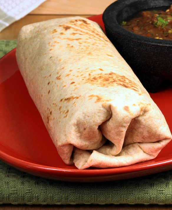 Filled wrap on a red plate