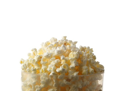 Popcorn against white background