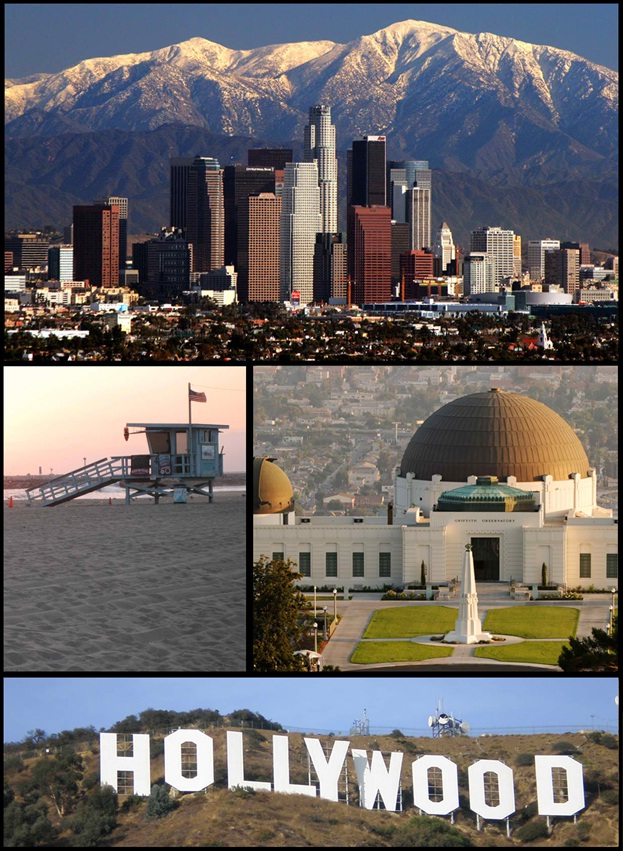 Collage of iconic settings in California