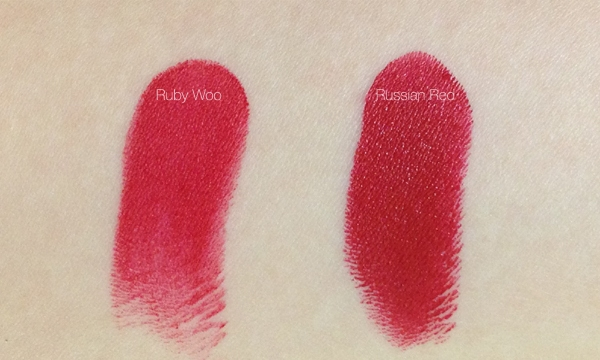 MAC's Ruby Woo and Russian Red – A Product Comparison 2