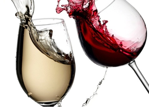 Red and white wine against white background