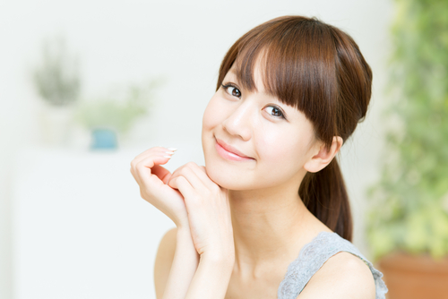 Young Korean woman with beautiful skin