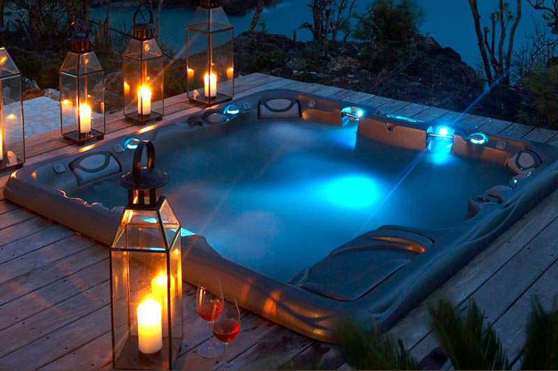 Luxurious swimming pool at night