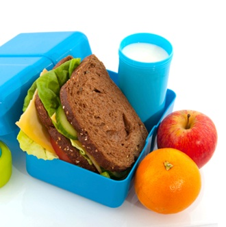 Healthy sandwich in blue lunch box