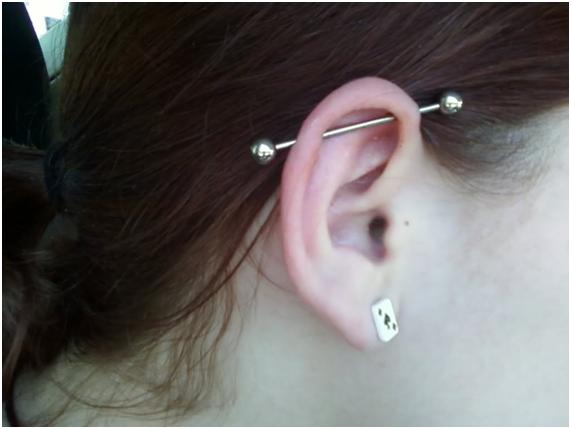 Ear with interesting piercing
