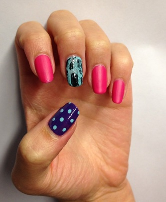 Pink and blue nail designs