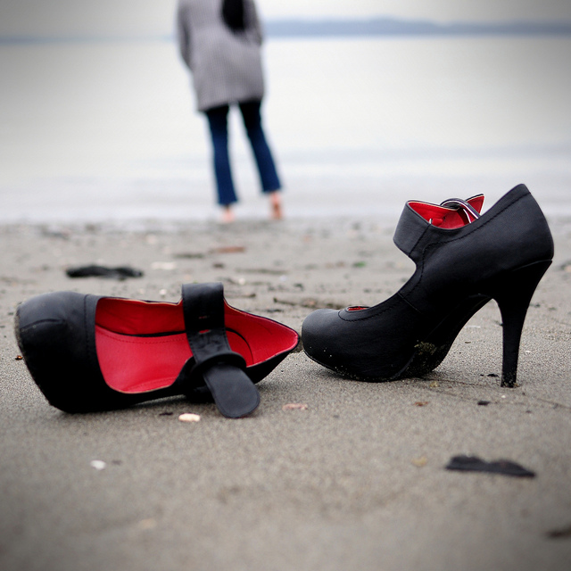 Black heels at the beach
