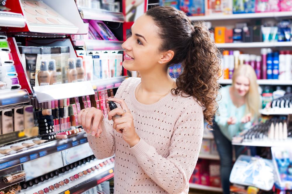 Woman buying cosmetics