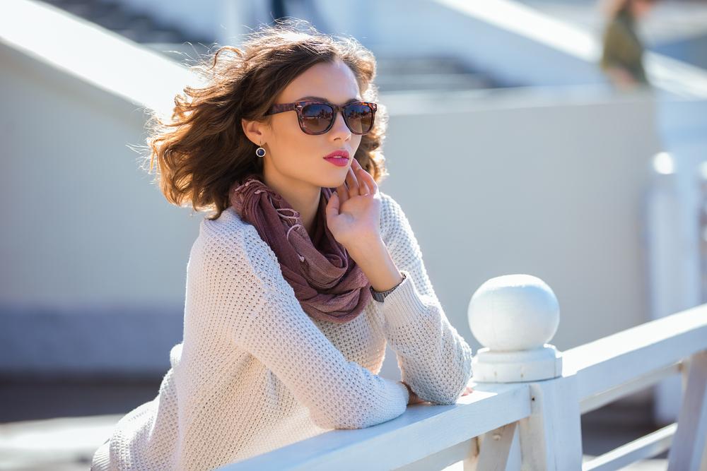 Stylish woman wearing a scarf