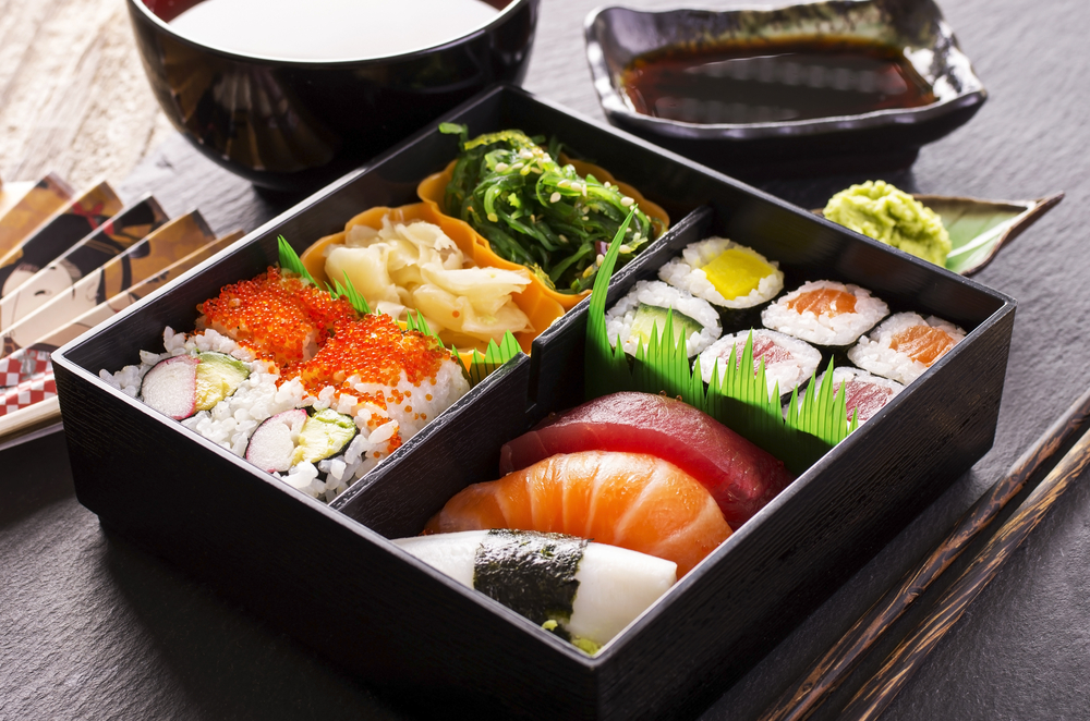 Bento box with sushi selection