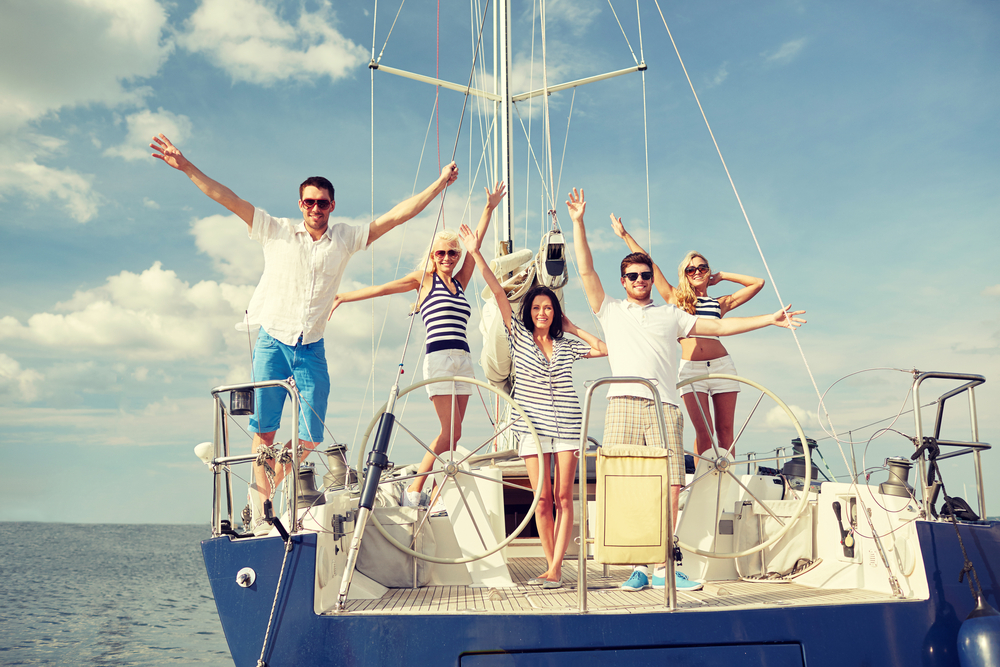 Friends in a yacht