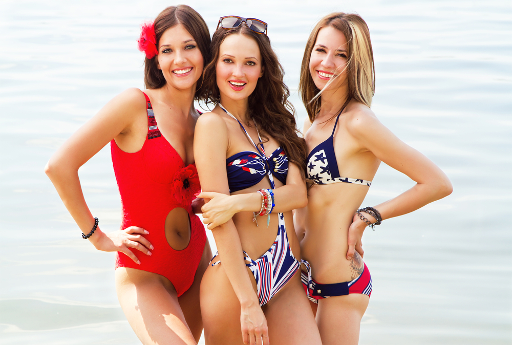 Three women in bathing suits