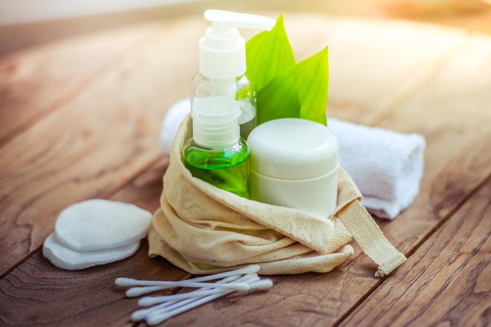 Personal care products on wooden table
