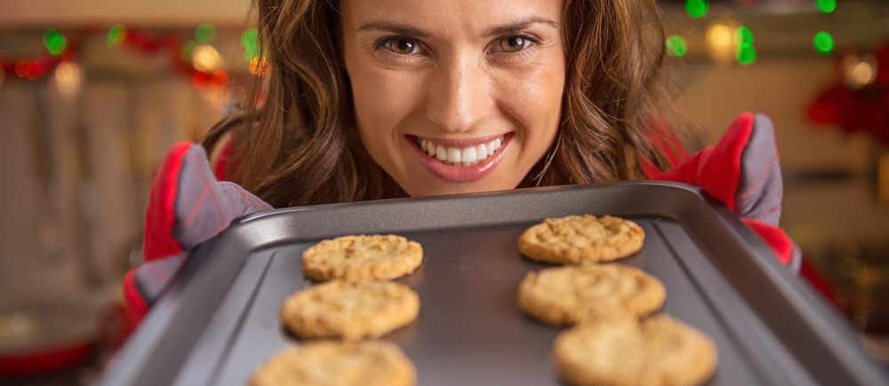 Woman with holiday cookies