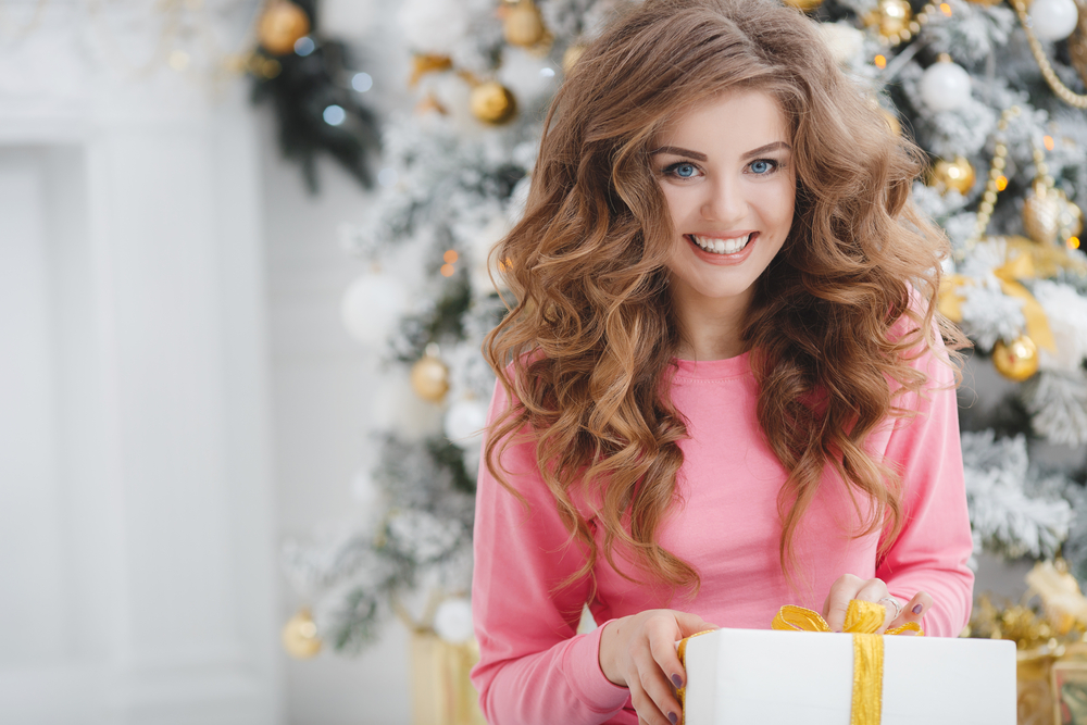 Woman with holiday gifts