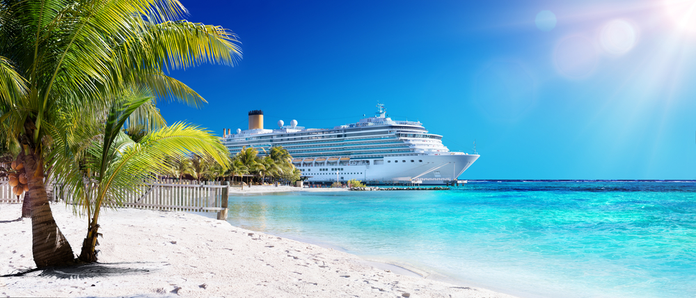 Cruise ship and the beach