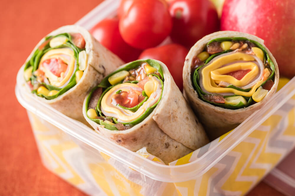 Healthy wraps in a tupperware