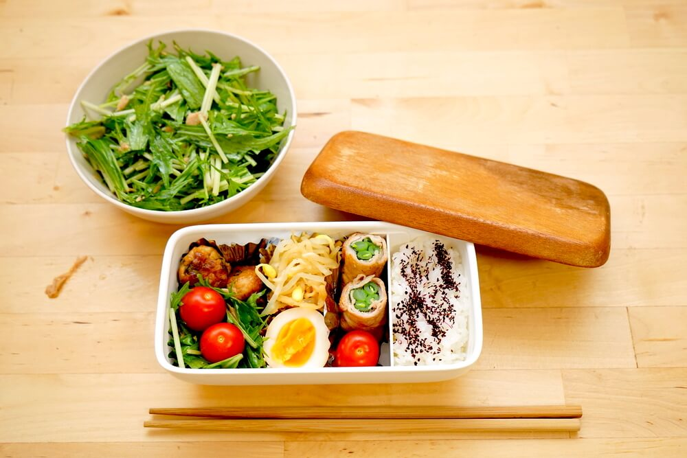 Bento lunch on wooden table