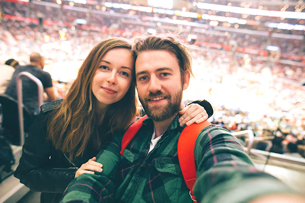 couple at live game