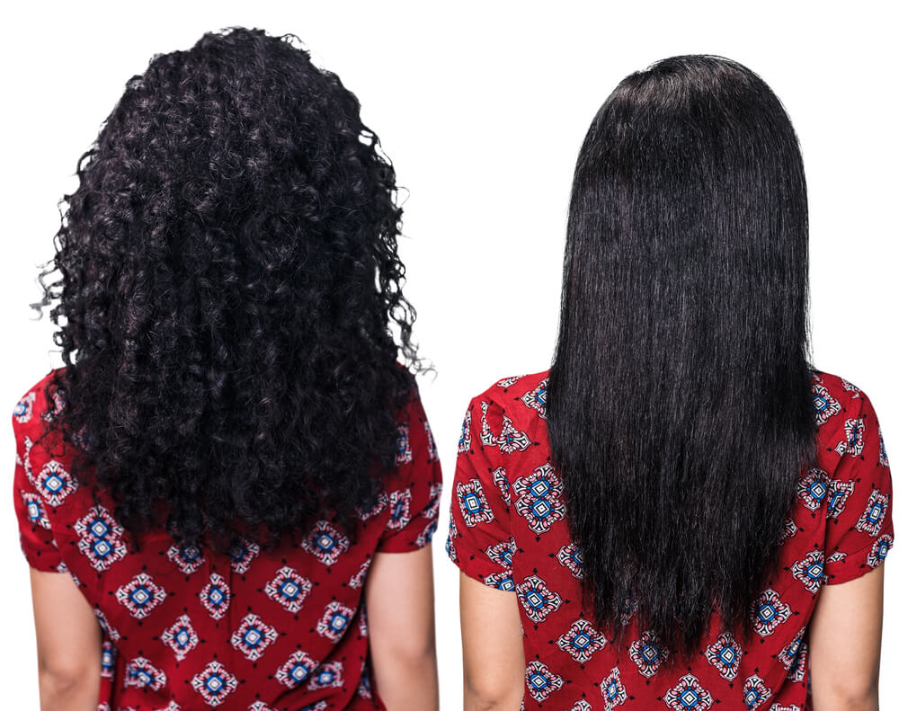 curly hair straightened before and after