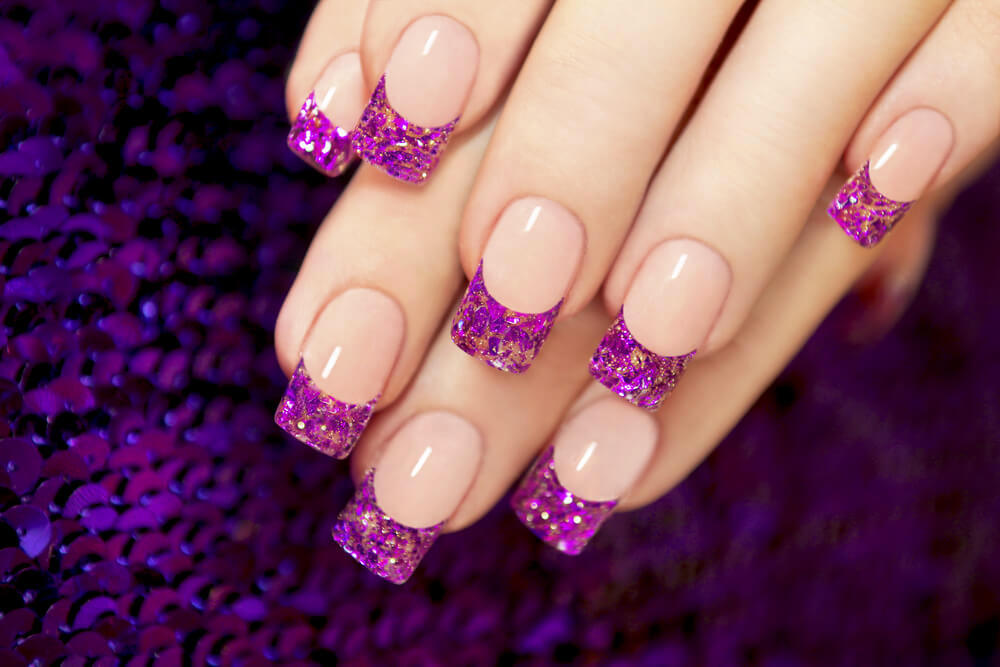bright purple tips nail art