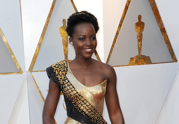 Lupita Nyong'o in gold dress at the Oscars 2018