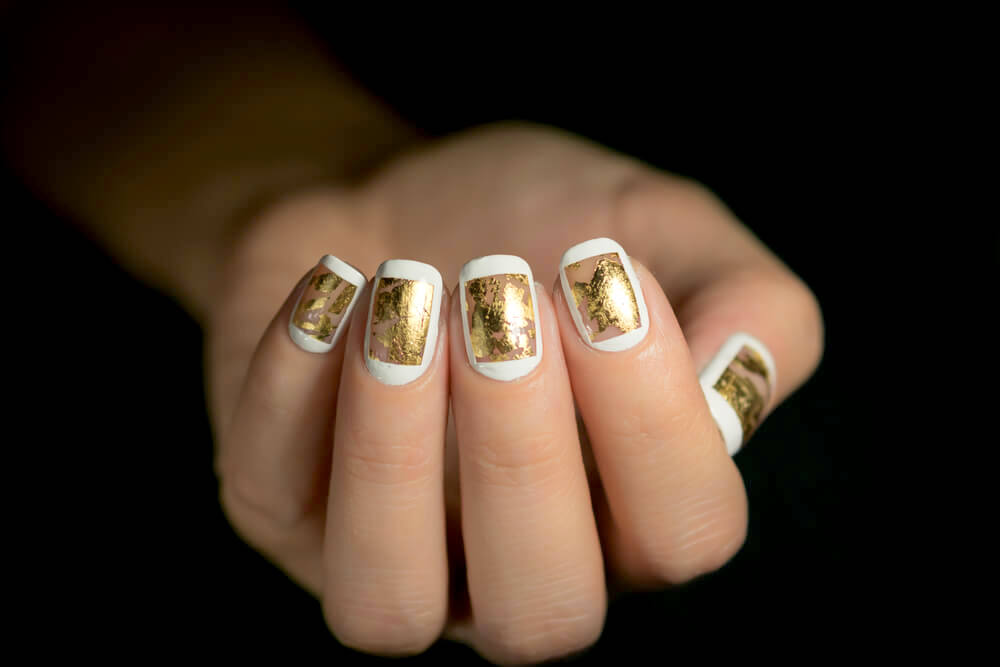 Gold-leafed nails
