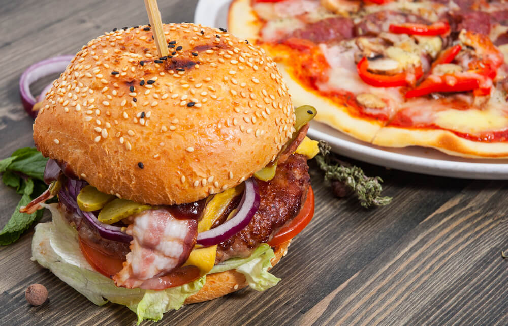 Beef burger and pizza