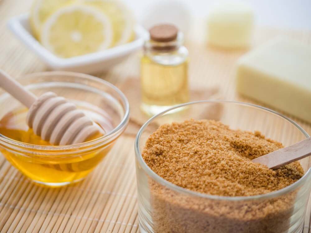 Brown sugar and honey for homemade lip scrub