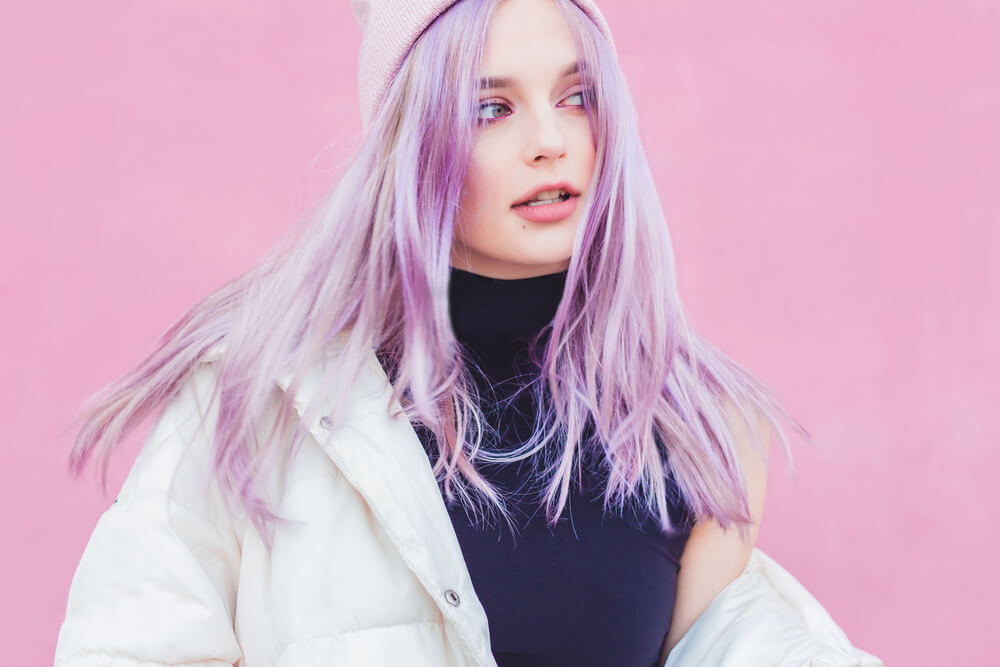 Woman with lilac hair