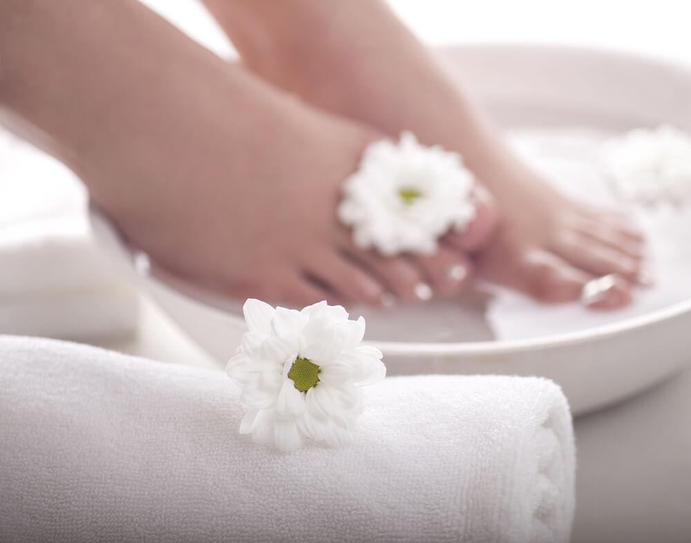 Feet in foot soak