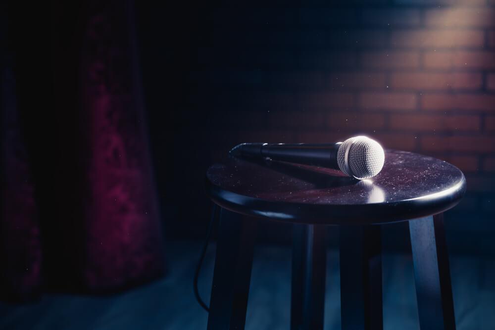Microphone on stool