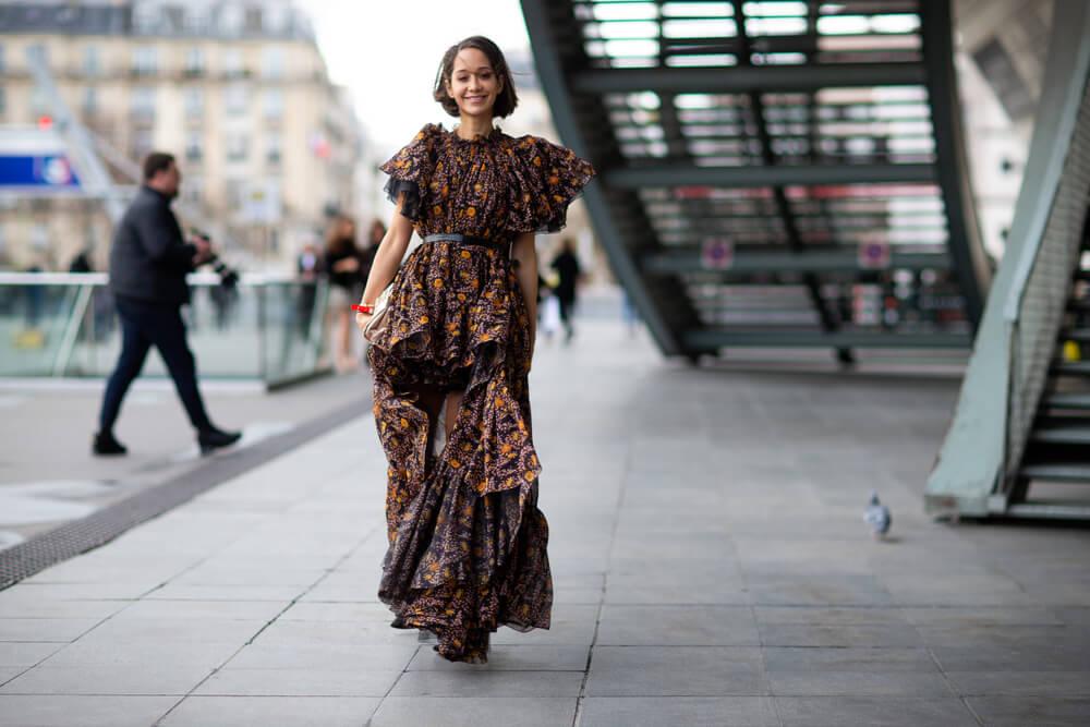 Woman in maxi dress