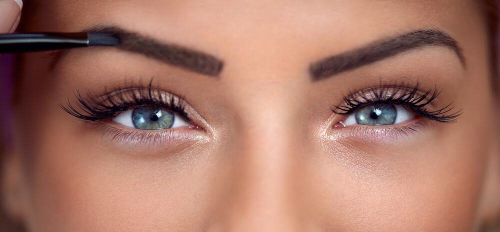 Woman with glossy eyeshadow