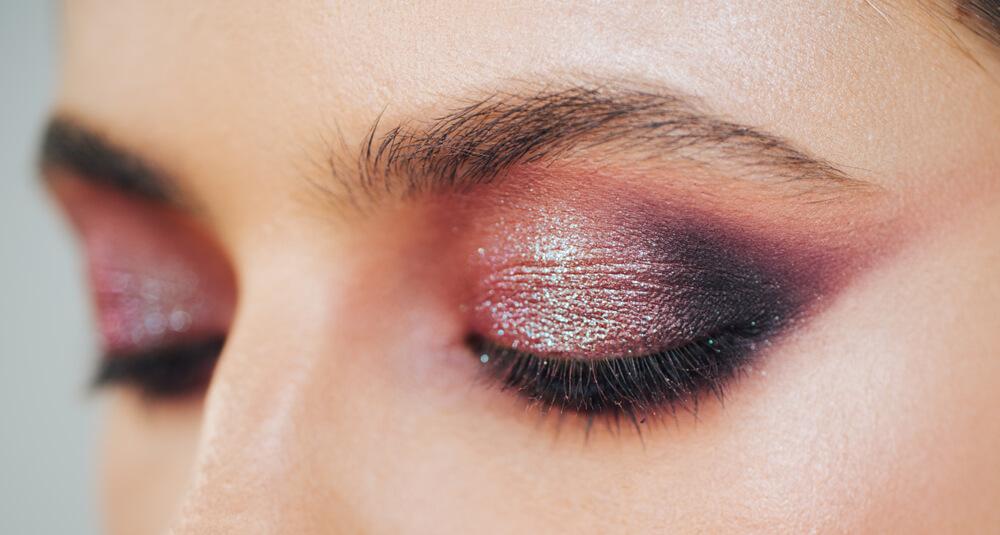 Eyes with shimmery eyeshadow